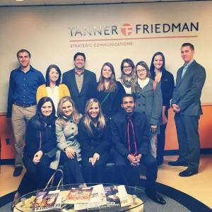 Members of PRSSA visit Tanner Friedman's office in Farmington Hills, Mich. during a Detroit firm tour last fall.